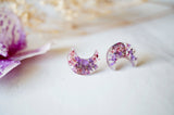 Crescent Moon Pressed Flowers Earrings