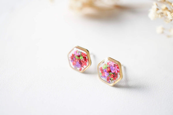 Golden Hexagon II Pressed Flowers Earrings