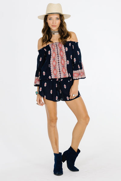 Kayla Navy Romantic Romper