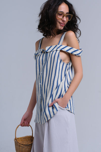 Valentina Cream Stripped Top