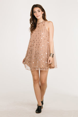 Camila Beige Sequin Dress