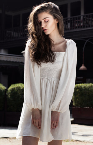 Camila White Silk Dress