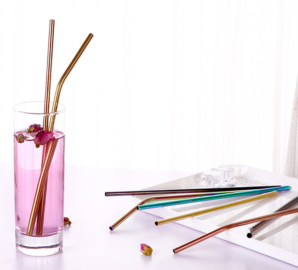Stainless Steel Reusable Drinking Straws (5 Piece Set)