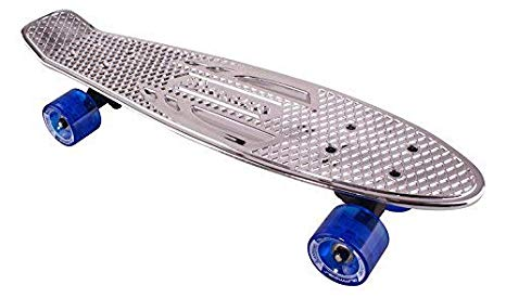 Karnage Chrome Retro Skateboard - Silver Deck/Blue Wheels