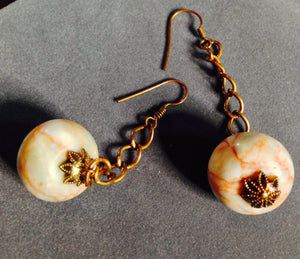 Marble Ball and Copper Chain Earrings 09088