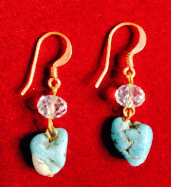 Turquoise, Swarovski Crystal, and Copper Earrings 09378
