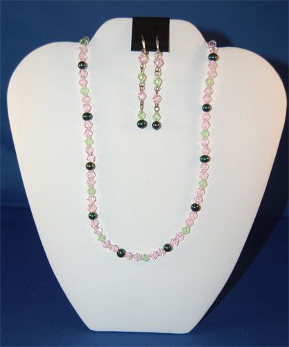 Pink and Green Crystals & Freshwater Pearls Necklace & Earrings  #10140