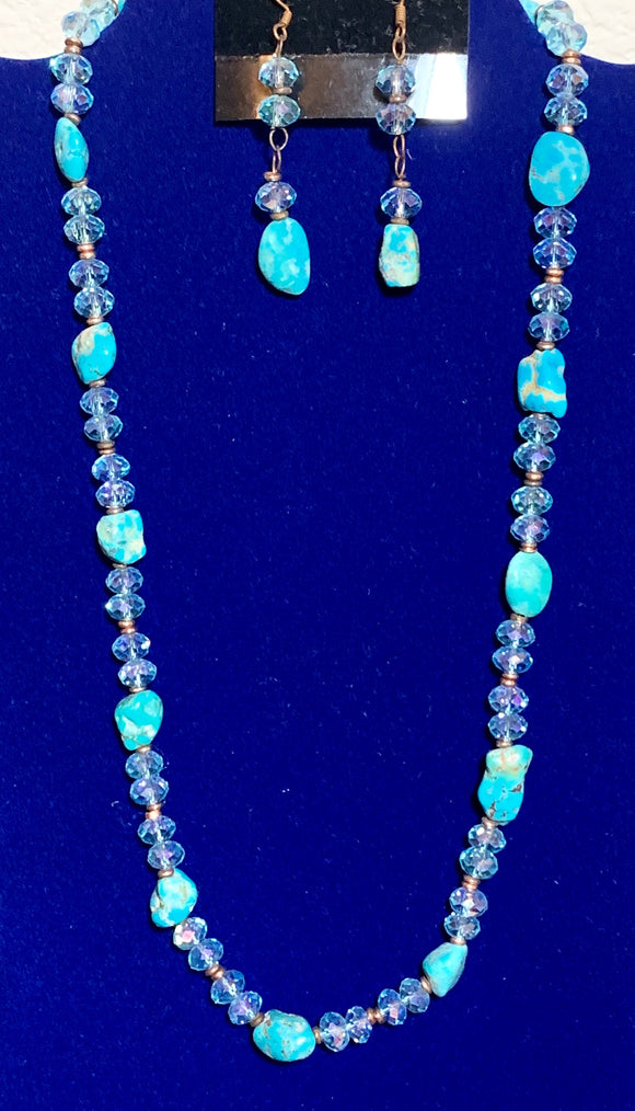 Genuine Turquoise, Crystal, and Copper Necklace & Earrings 10151