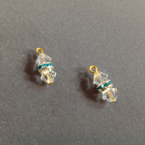 Clear Swarovski Crystals with Blue Crystal Spacers Dangles (for interchangeable earring system) 10256