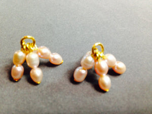 Pink Swarovski Pearls on Gold Plated Findings Dangles (for interchangeable earring system) 10258