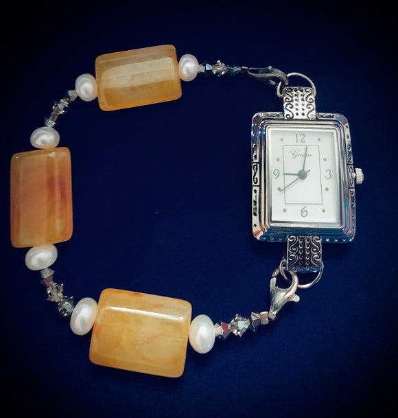 Orange Acrylic & Pearl Watch (for interchangeable watch system)  #10328