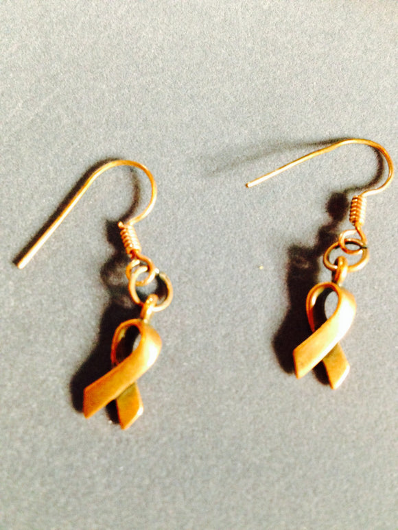 Copper Awareness Ribbon Earrings