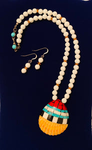 Coral, Onyx, & Turquoise Overlaid Shell Pendant Necklace Set  #11103
