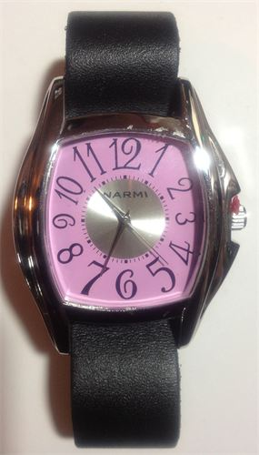 Pink Face Watch with Black Leather Watchband  #11123