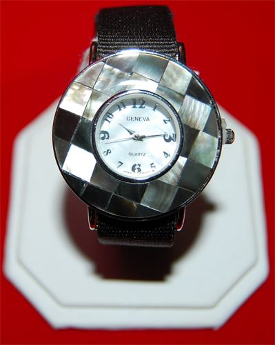 Mother of Pearl Watch with Black Nylon Band  #12096