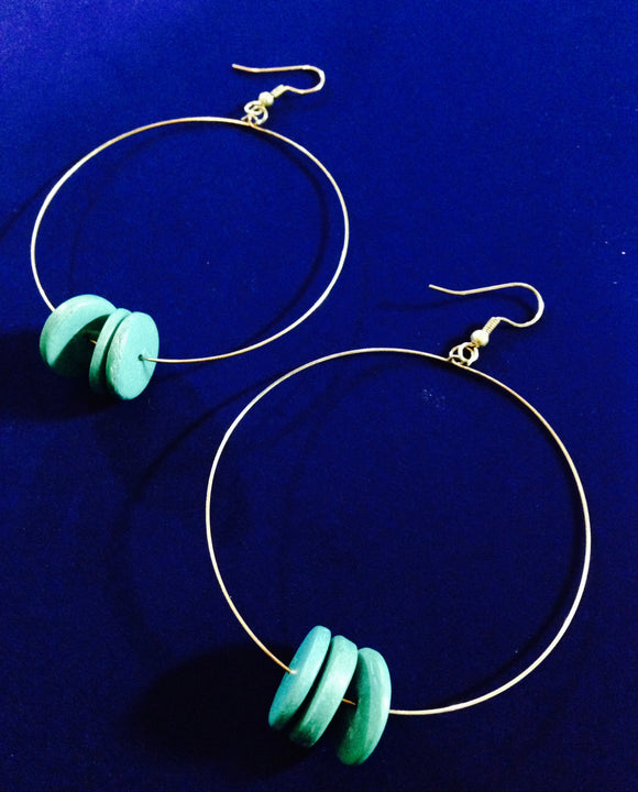 Bluegreen Wooden Disk Large Hoop Earrings