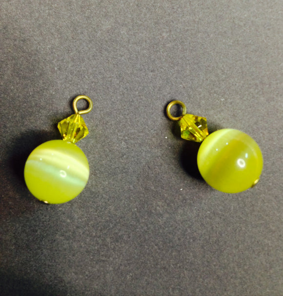 Yellow Cat's Eye Stone Dangles (for interchangeable earring system)