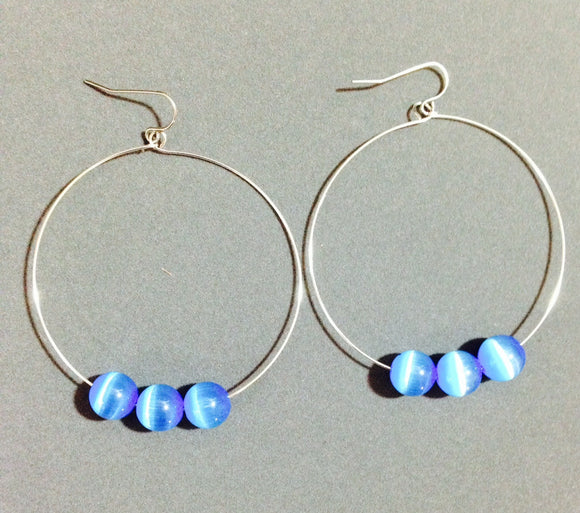Hoop Earrings with Blue Cat's Eye Beads