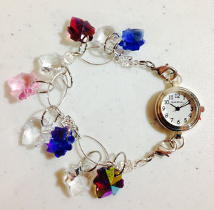 Sterling Bracelet with Dangling Glass Leaves and Silver Plated Watch (for interchangeable watch system)  #14149