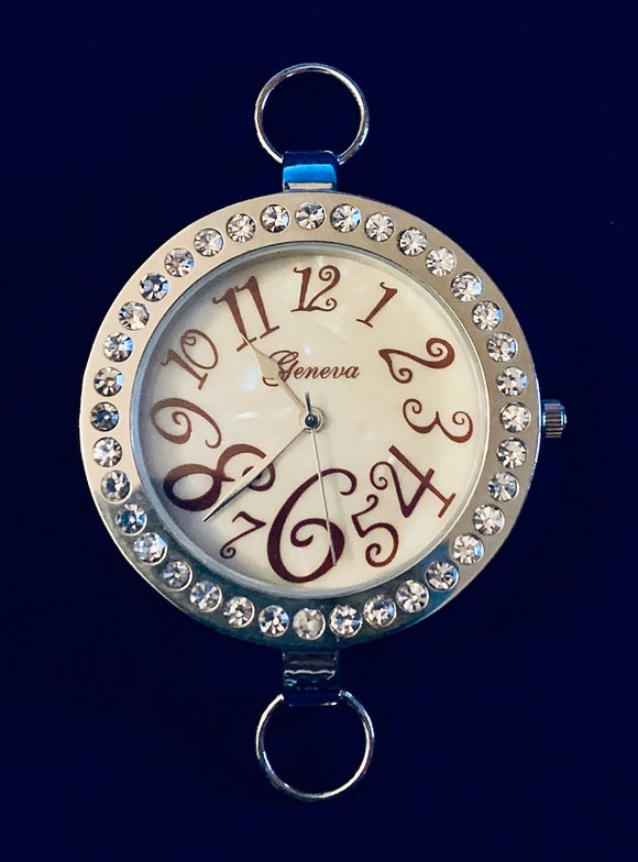 Rhinestone and Silver Plated Watch Face  (for interchangeable watch system)  #14152