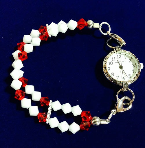 Silver Plated Watch with Red & White Crystal Watchband  (for interchangeable watch system)  #14153