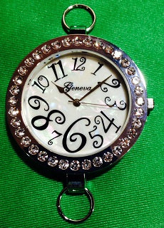 Silver Plated & Rhinestone Watch Face  (for interchangeable watch system)  #14154
