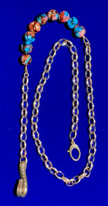 Sterling Silver & Lampwork Beaded Men's Pocket Chain
