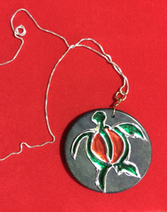 "Repujado Turtle on Wood Base with 16"" Sterling Silver Chain #15117"