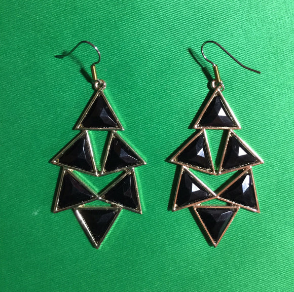Black Triangle Dangle Earrings