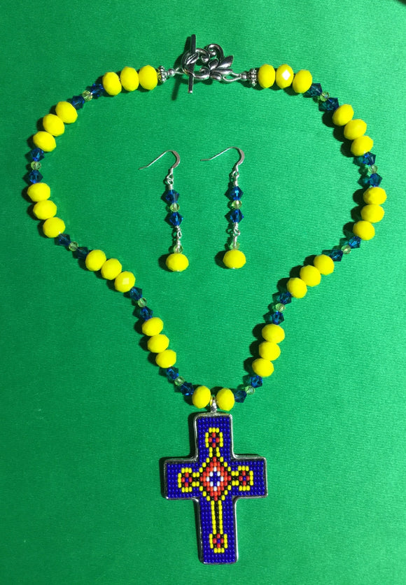 Yellow and Blue Crystal with Cross Pendant 16068
