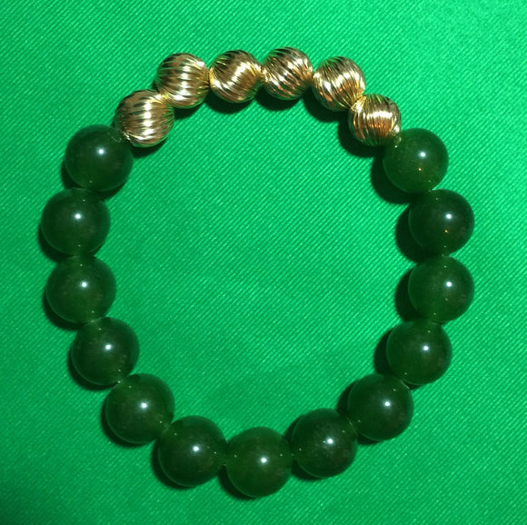 Jade and Gold-Filled Elastic Bracelet, Size 6.5
