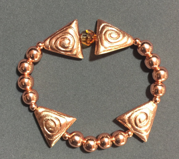 Copper and Crystal Elastic Bracelet  #17088