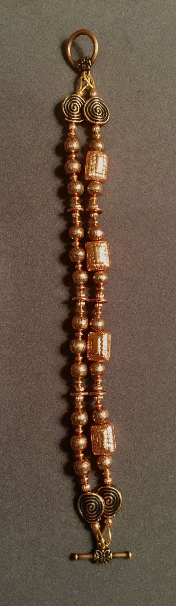 Two-Strand Antiqued Copper Toggle Clasp Bracelet  #17091