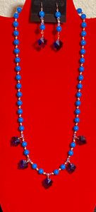 Lapis Lazuli 8MM Swarovski Crystal Pearls, Swarovski Crystals, Copper, and Crystal Leaves Necklace & Earrings