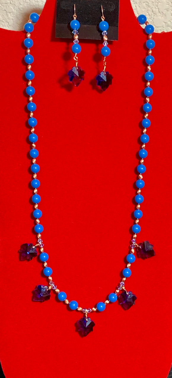 Lapis Lazuli 8MM Swarovski Crystal Pearls, Swarovski Crystals, Copper, and Crystal Leaves Necklace & Earrings 17108