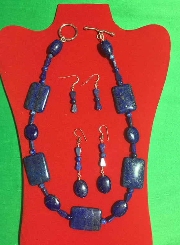 Lapis Lazuli and Sterling Silver Necklace with 2 Pairs of Earrings
