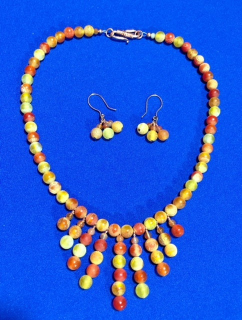 Orange Frosted Agate and Copper Necklace & Earrings 17122