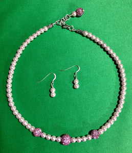 Pink Swarovski Pearls & Pink Pave Accent Beads Necklace & Earring Set with Sterling Silver Clasp
