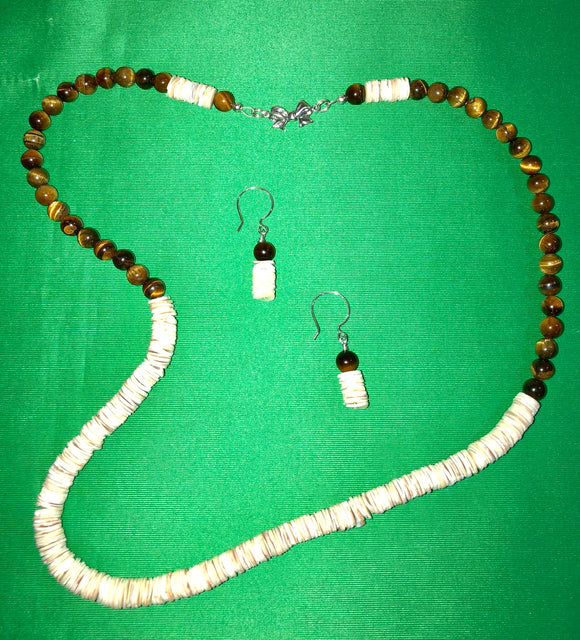 African Shell Discs and Tiger Eye necklace and earring set 18026