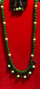 Jade & Dangling Crystal Necklace & Earrings 18084