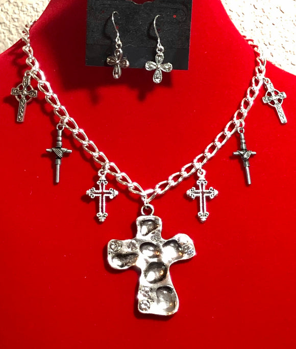 Multiple Crosses Necklace and Earring Set  #18109
