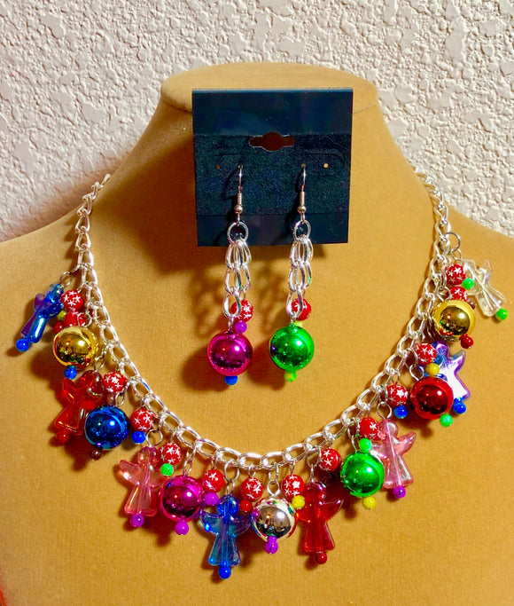 Christmas Ornament Bulb and Angel Necklace & Earrings