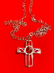 "Pewter Cross Frame, Swarovski Crystal, and 24"" Steel Chain"