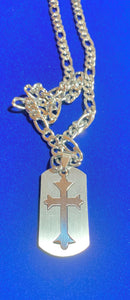 "Stainless Steel Dogtag with Cross Cutout on 24"" Stainless Steel Figaro Chain  #18124"