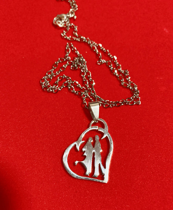 Steel Heart with Dancing Couple Inside the Heart Pendant on 20