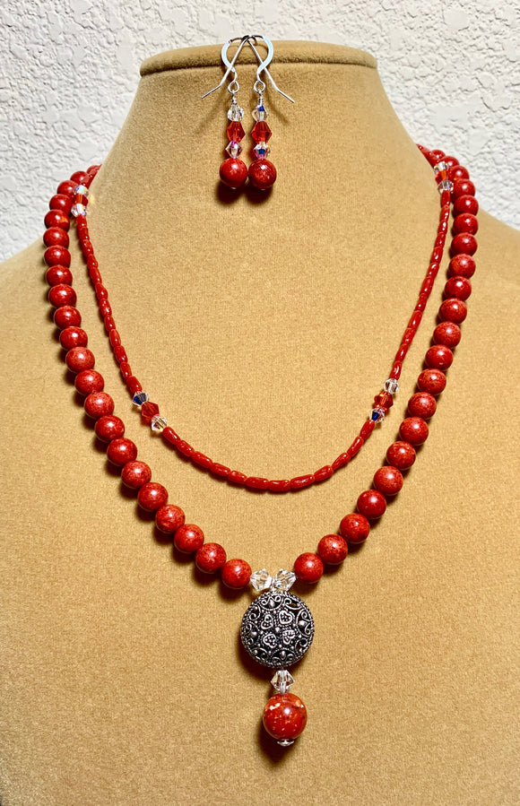 Double Strand Sponge Coral Necklace and Earrings 19002