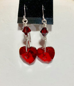 Red Crystal Heart Earrings 19018