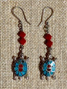 Steel Turtles and Red Crystals on Sterling Earwires 19043