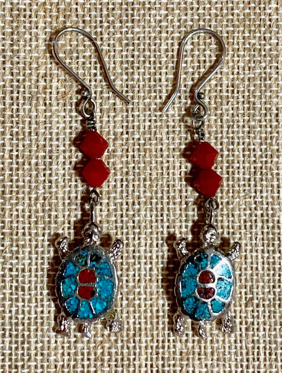 Steel Turtles and Red Crystals on Sterling Earwires