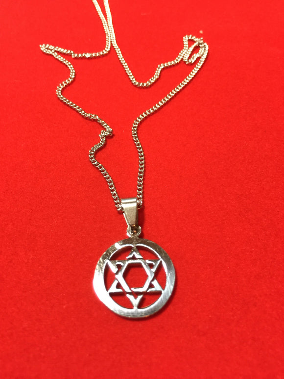 Stainless Steel Star of David Pendant on 18